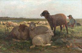 Brendel, Albert (Berlin, Weimar 1827-1895)MittagsruheLiegende und grasende Schafe in weiter