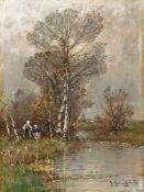 Jungblut, Johann (Saarburg, Düsseldorf 1860-1912)Herbstliche Wasserlandschaftam Niederrhein mit