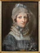 Deutscher Pastellmaler (um 1820)Zwei Brustbildnisse eines EhepaaresSie in blauem Kleid und