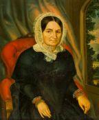 Biedermeiermaler (um 1840)Ältere Damein schwarzem Kleid, Haube und weißer Spitzengarnitur auf