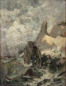 Hoffmann von Fallersleben, Franz (Weimar, Berlin 1855-1927)Steilküsteund vom Meer umtoster Fels.