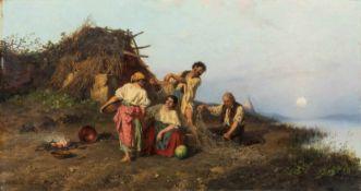 Böhm, Pál (Nagyvárad, München 1839-1905)Ungarische Fischerfamiliean Seeufer vor mit Reisig gedeckter