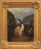Biedermeier-Maler (um 1840)An Marterl kniendes Landmädchenüber Vierwaldstätter See. In der Linken