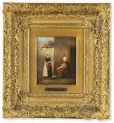 Holländischer Maler (1814-1864/65) , in der Art des Hubertus van HoveMagd und Fischverkäuferinbeim
