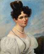 Französischer Porträtmaler (um 1830)Junge Fraumit kunstvoller Lockenfrisur in weißem Kleid vor