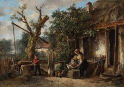 Kate, Mari Ten (Den Haag, Driebergen 1831-1910)FütterungszeitJunge Mutter mit drei Kleinkindern