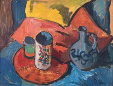 Kindt, Max (Starkenhorst, Berlin 1896-1970)Stillleben mit Fayencekrügenu. Steinzeugflasche vor