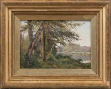 Khrenov, Alexander (1860-1926)Flusslandschaftmit bewaldetem Ufer. Kyrillisch sign. Lwd. 24,5×35