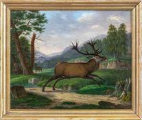 Kehrer, Christian (Erbach, 1775-1869)Flüchtender, verwundeter, kapitaler Hirschin Landschaft.