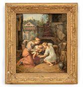 Genremaler (um 1830)Muttermit ihren beiden Kindern, einem großen Hofhund Wasser gebend an