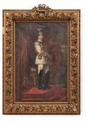 Frenz, Alexander (Rheydt, Düsseldorf 1861-1941)Kaiser Wilhelm II.in Uniform vor Thronsessel und