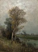 Jungblut, Johann (Saarburg, Düsseldorf 1860-1912)VorfrühlingBauernpaar am Ufer eines Kanals unter