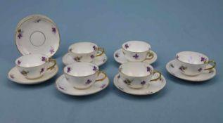 6 kleine Kaffeetassen und UT, um 1900 J.Jaksch & Co., H 4cm