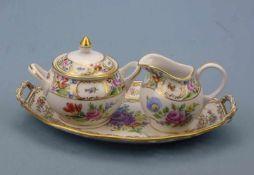 Schale, Milch und Zucker, Potschappel polychromer Blumendekor, Goldränder, 25x14cm(Schale)