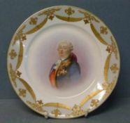 Teller, Sevres, um 1900 rund, im Spiegel polychrom dekoriertes Portrait von Louis XVI.,Fahne mit