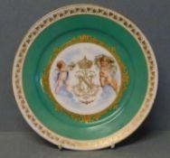 """Teller, Frankreich, um 1900 grüner Fond, goldgerahmte Kartusche, bekröntes Napoleonisches""""N"""" von"""