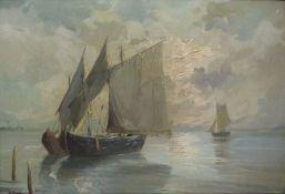 Segler vor Küste Öl/LWSegler vor Küste Öl/LWundeutl. sign., Segelboote auf ruhiger See, 48x67 cm,
