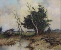 ''Im Dachauer Moos''''Im Dachauer Moos''Ernst Bröcker (1893-1963) Öl/Lw, Hof hinter Birken, GR,
