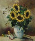 SonnenblumenFriedrich Adolf Apfelbaum, 1904-'74SonnenblumenÖl/LW, sign., Strauß in Vase, 60x50 cm,