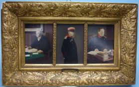Kaiser Wilhelm I.Kaiser Wilhelm I.Bismarck und Moltke, Ende 19.Jh. Öl über Druck/Mahagonitafel,