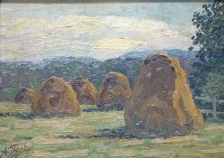HeuhaufenHeuhaufenArnold Tiggins (1880-1945) Öl/Pappe, sign., Craqulée, 24x33 cm, ger.