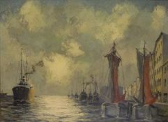 HafenHafenPaul Erhardt (1888-1981) Öl/LW, sign. Kutter u. Segelboot an Kai vor Häuserkulisse,