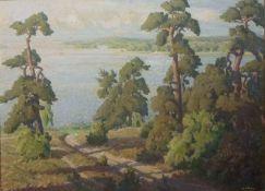 SeenlandschaftSeenlandschaftWilhelm Wilcke (1885-1975), 1947 Öl/Platte, sign. u. dat.,
