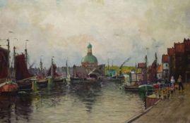 Blumenmarkt in AmsterdamBlumenmarkt in AmsterdamJohann Heinz Mindermann (1872-1959) Öl/LW, sign.,