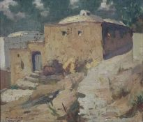 ''Capri'' bez.''Capri'' bez.1933 dat. Öl/Platte, undeutl. sign. P.Smolran?, Häuser in