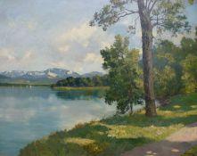 AlpenseeAlpenseeJosef Burger (1887-1966) Öl/Lw, bewaldetes Ufer, schneebedeckte Berge im HG,