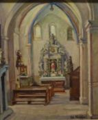 KircheninterieurKircheninterieurFritz Herpfer (1883-1936) Öl/Platte, sign., Blick in Seitenkapelle