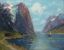 Fjord, R. PetersenFjord, R. PetersenSegelboote in Fjord, 41x51 cm, ger.