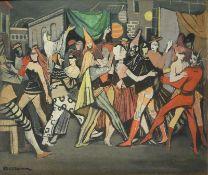 MaskenballMaskenballWalter Schmock, um 1940 Gouache(?)/LW, sign., vor Gebäuden tanzende maskierte