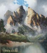 """Monte Cristallo""J.E. Lemke""Monte Cristallo""Öl/LW, sign., rs. bez., Alpe vor Gebirgsmassiv, 80x70"