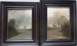 2 Landschaften2 LandschaftenJan Metzler Öl/Holz, sign., 25x20 cm, ger.