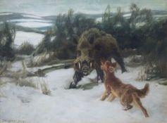 Keiler im SchneeKarl Weisgerber (1891-1968)Keiler im Schneesign. u.l., Keiler von Jagdhund bedrängt,