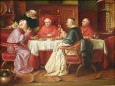 KardinalsrundeKardinalsrundeÖl/Holz, sign. Jong, Kardinäle an gedeckter Tafel bei der