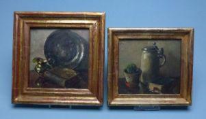 Paar Stillleben Öl/PlattePaar Stillleben Öl/Plattemonogr. J.K., 13x14/15x15 cm, ger.