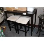 Lot wooden rectangular high table w/ 2 stools