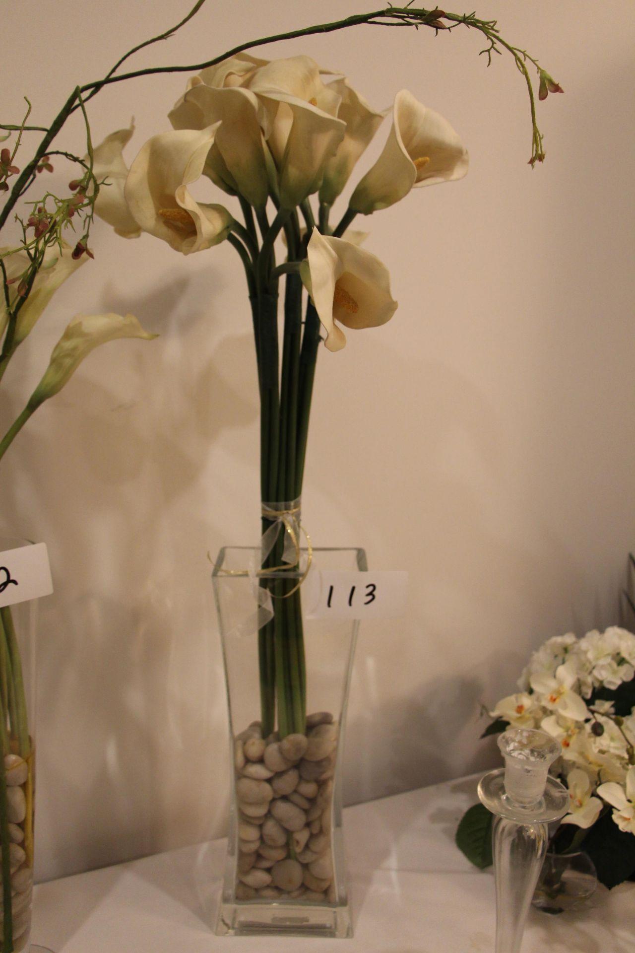 Lot 113 - Faux flower arrangement w/ glass vase