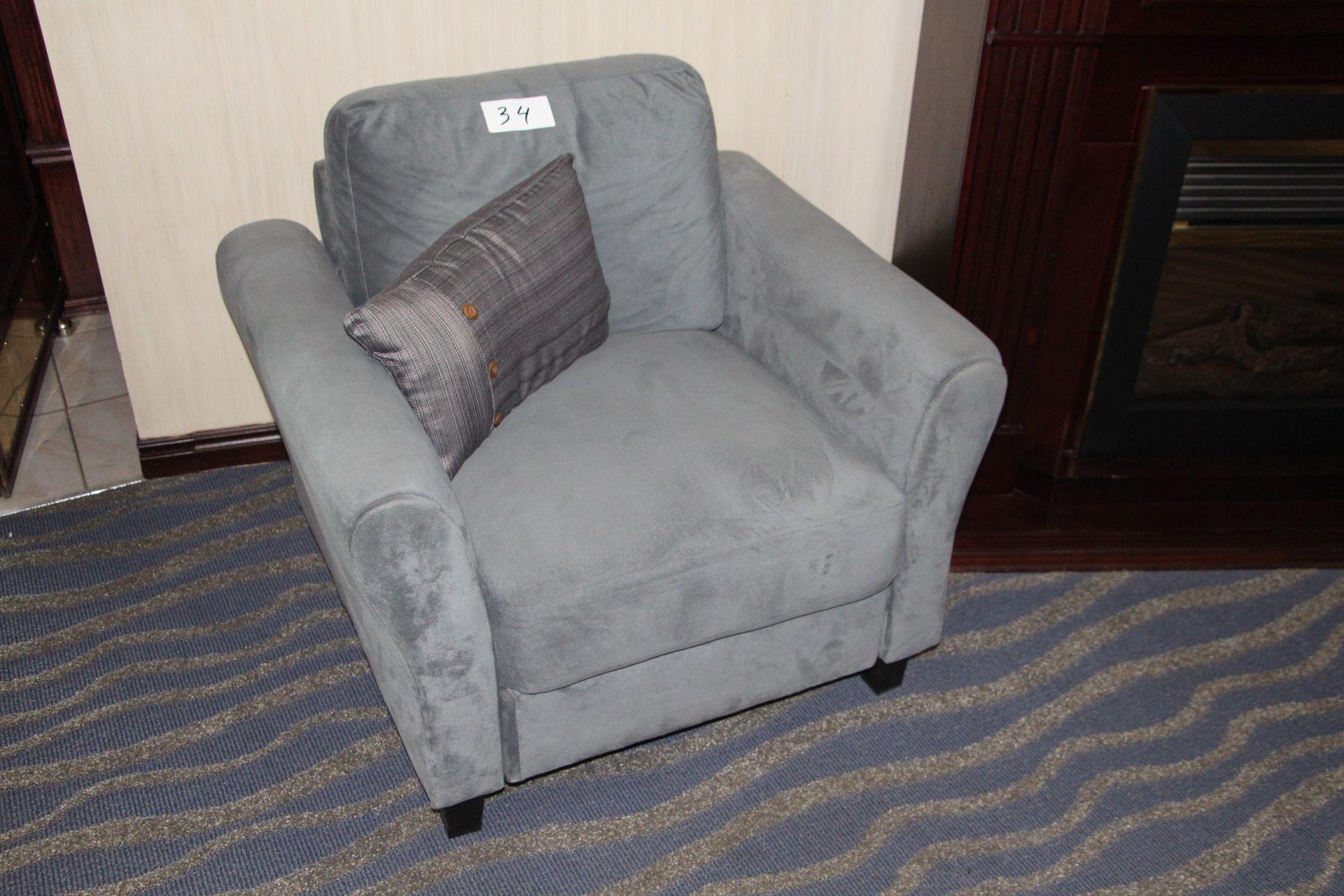 Lot 34 - Fabric armchair w/throw cushion