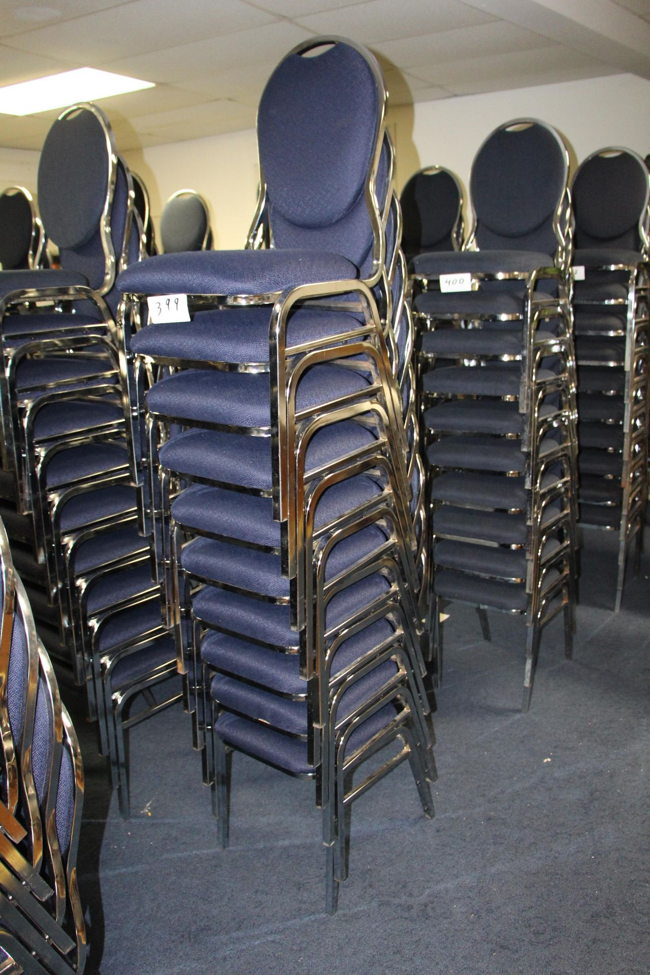 Lot 399 - Lot 10 chrome/fabric stackable sidechairs