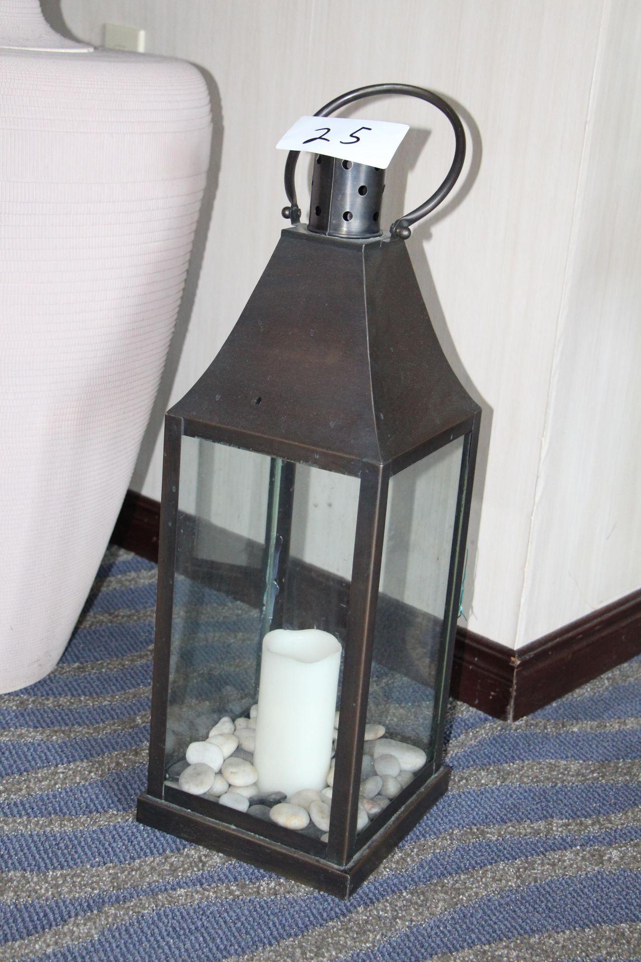 Lot 25 - Wrought iron lantern candle holder