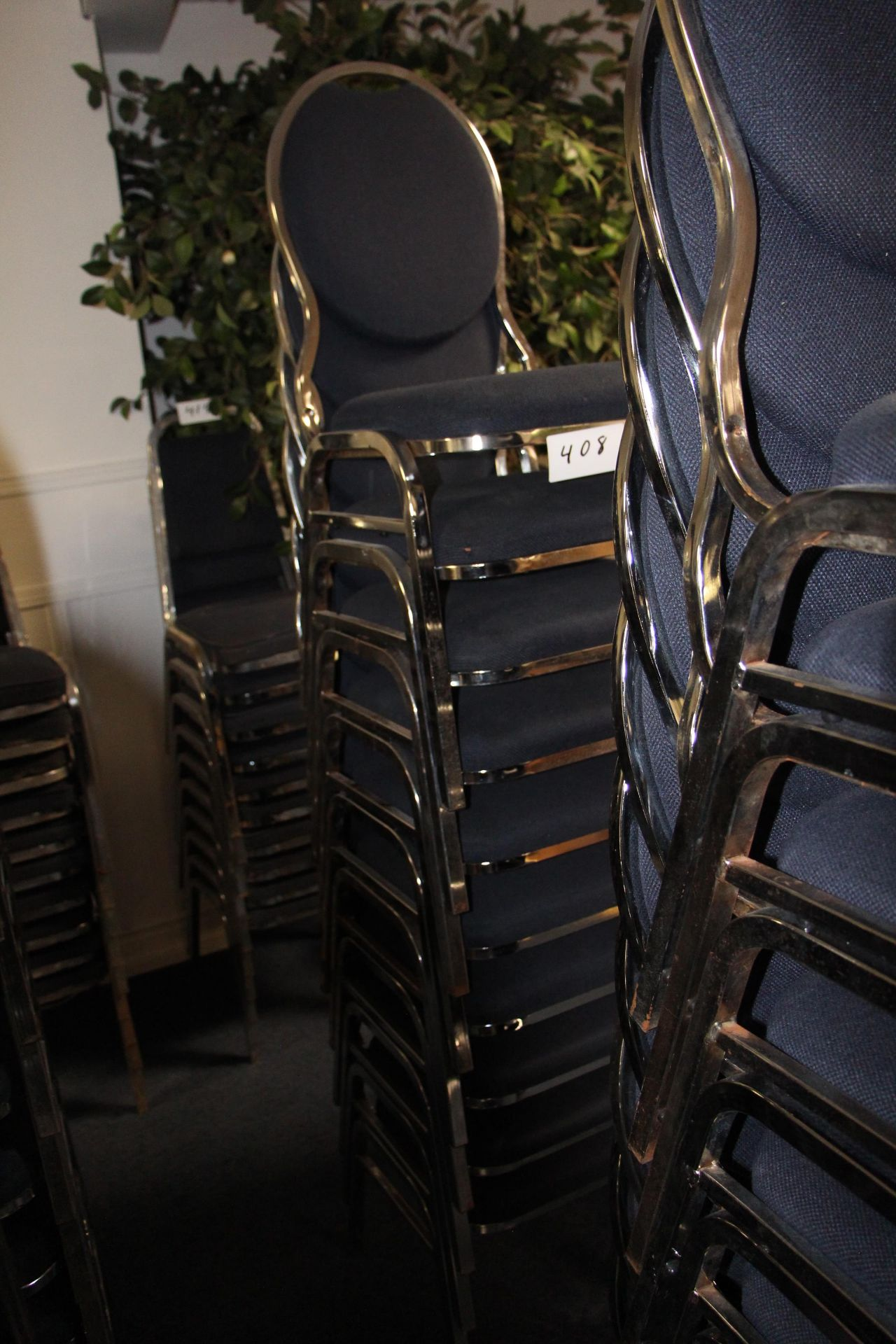 Lot 408 - Lot 10 chrome/fabric stackable sidechairs