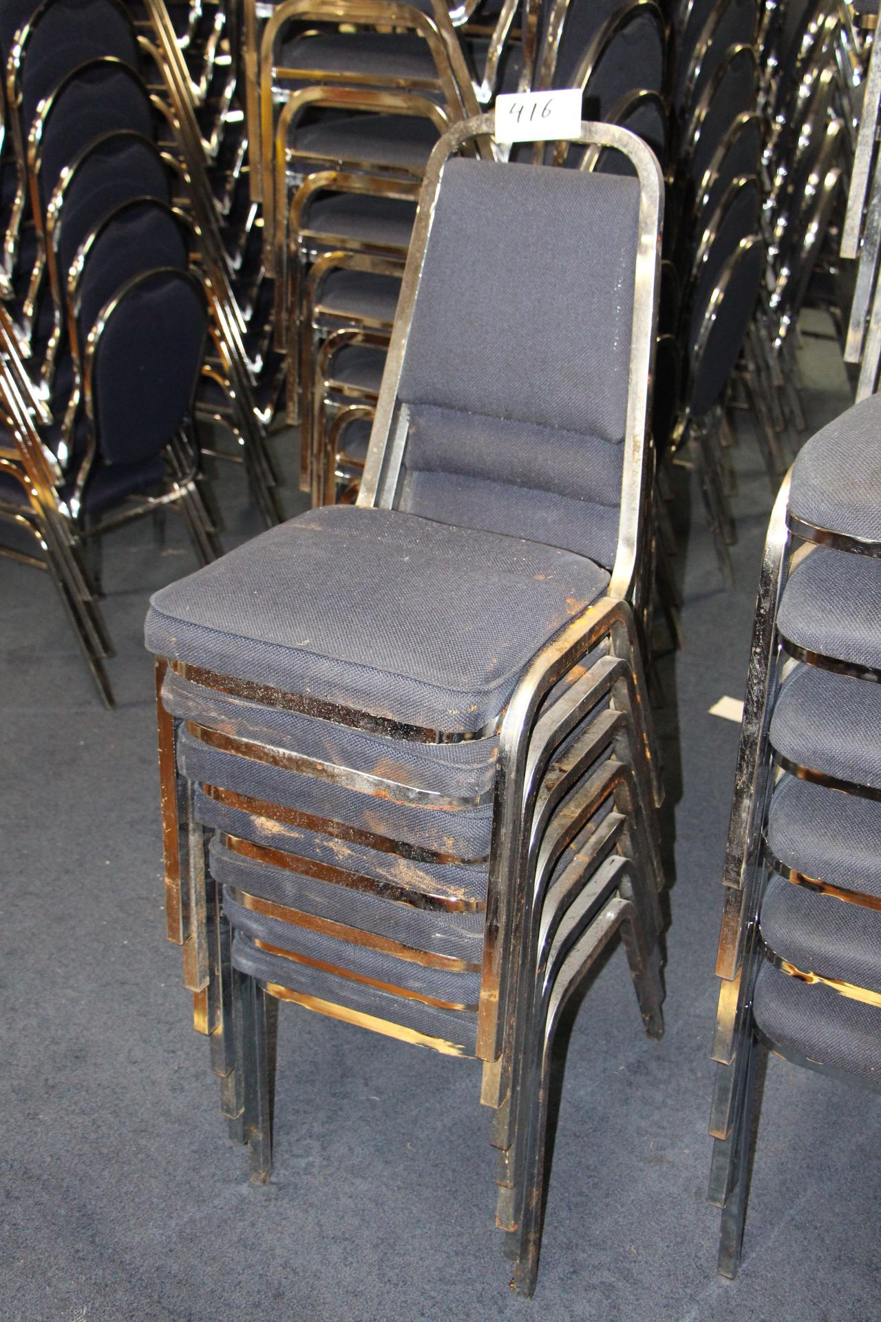 Lot 416 - Lot 6 chrome/fabric stackable sidechairs