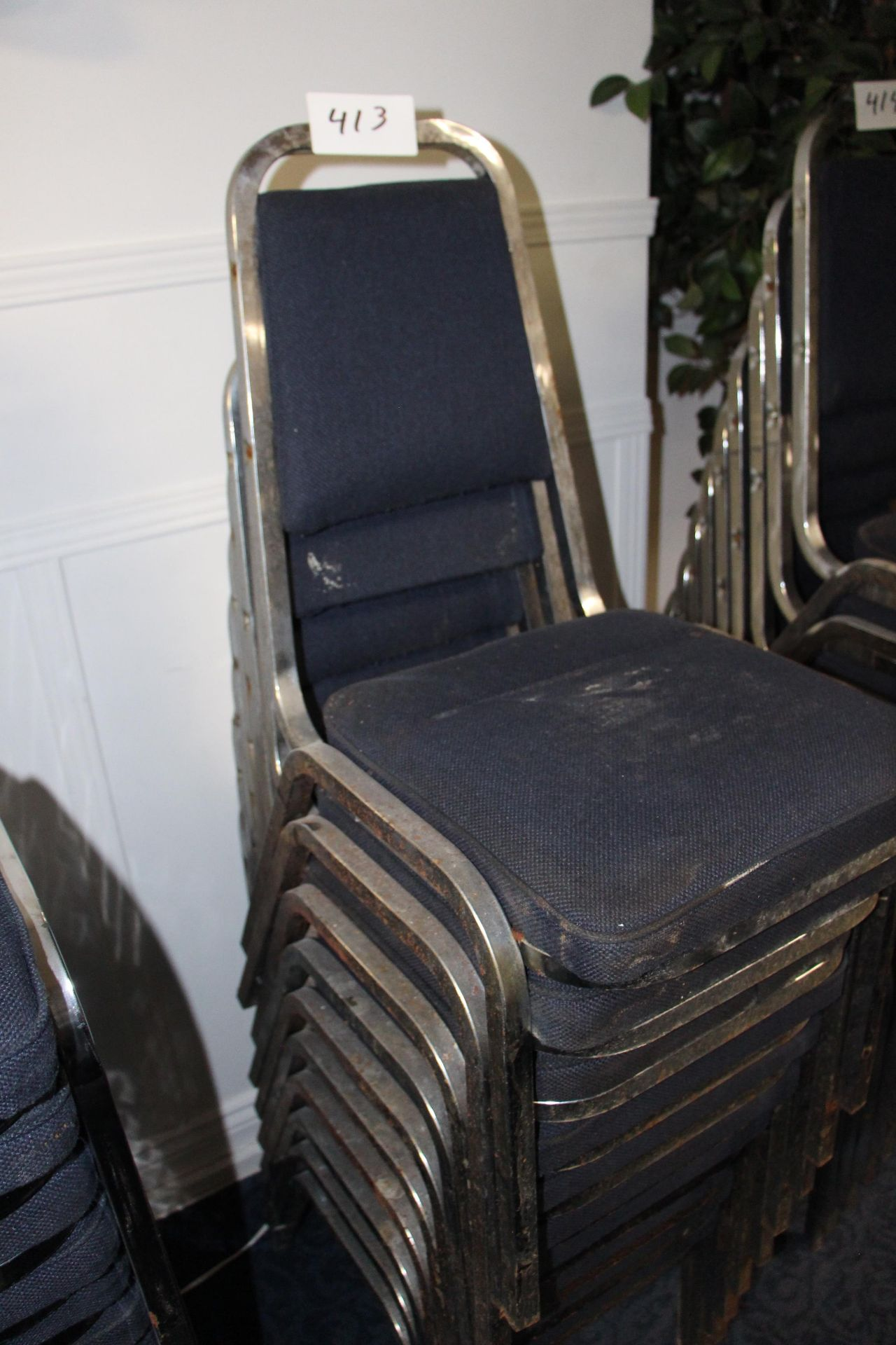 Lot 413 - Lot 10 chrome/fabric stackable sidechairs