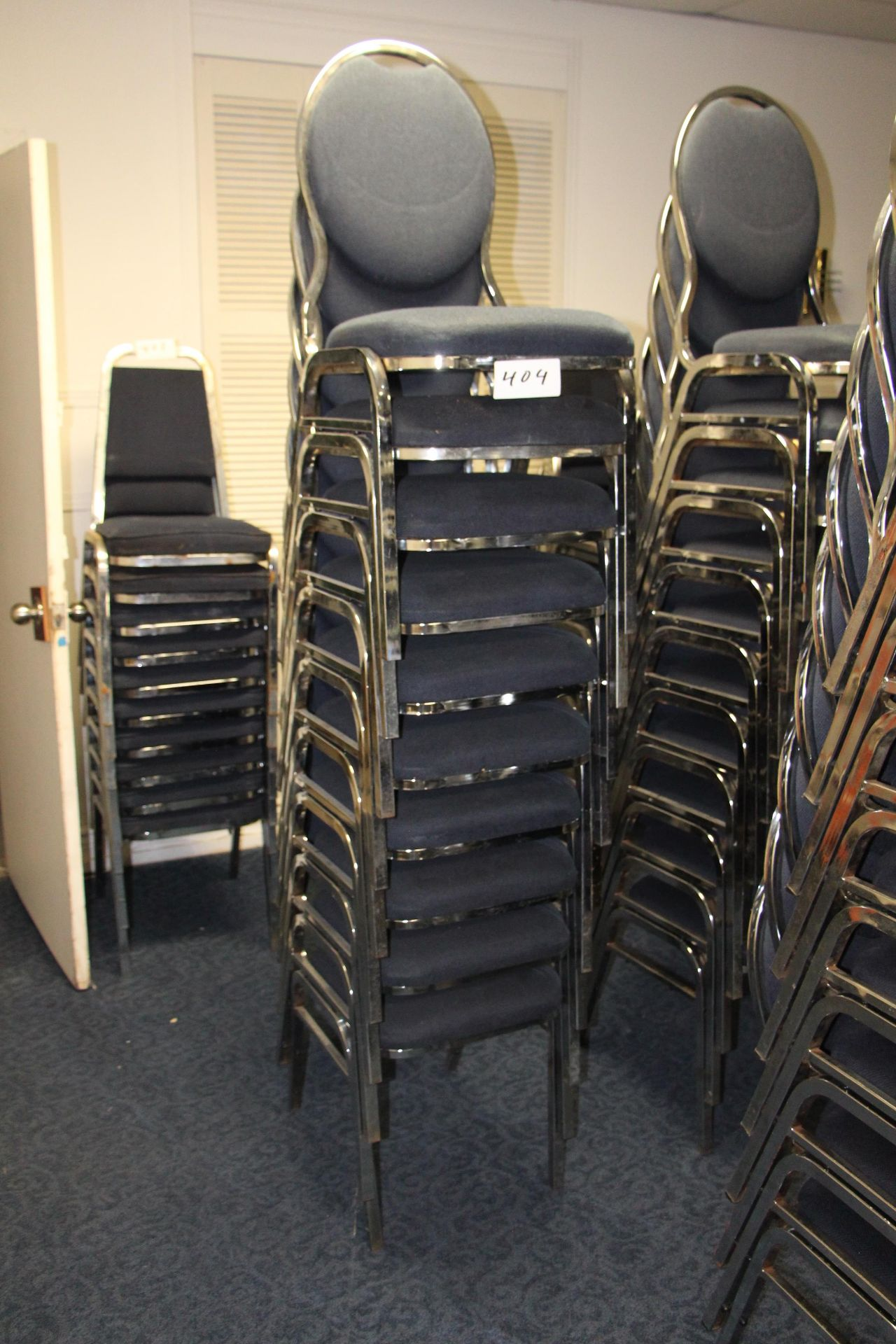 Lot 404 - Lot 10 chrome/fabric stackable sidechairs