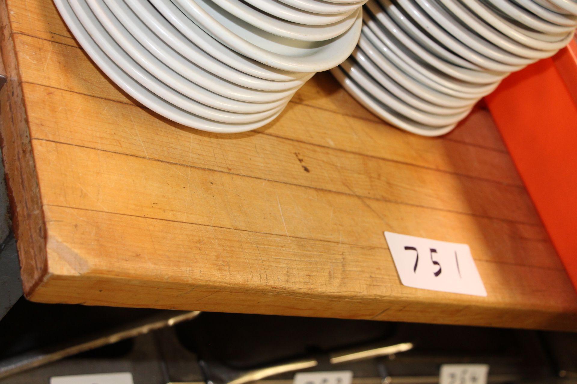 Lot 751 - Butcher block top prep table