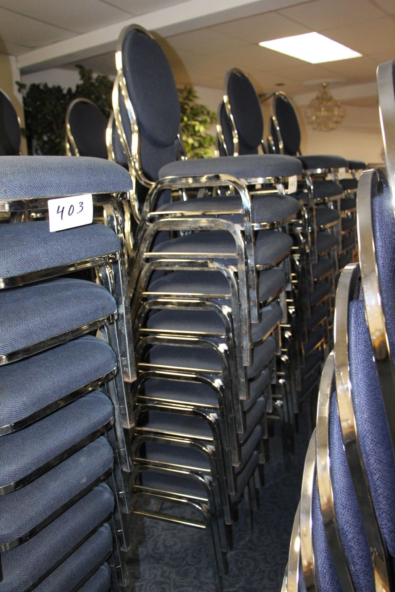 Lot 402 - Lot 10 chrome/fabric stackable sidechairs
