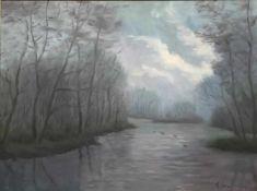 """Szerbakow, Fedor. 1911 Eckertsdorf - 2009 Lilienthal. """"Überschwemmung im Nebel...""""."""